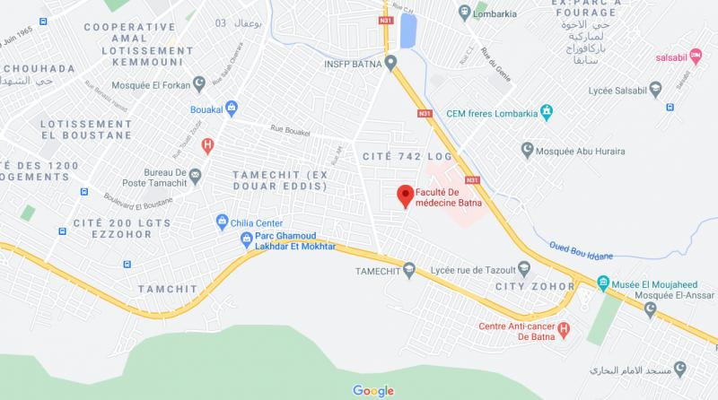 Localisation de la faculté de Médecine BATNA2